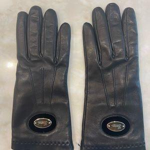 Authentic GUCCI black leather gloves sz 8